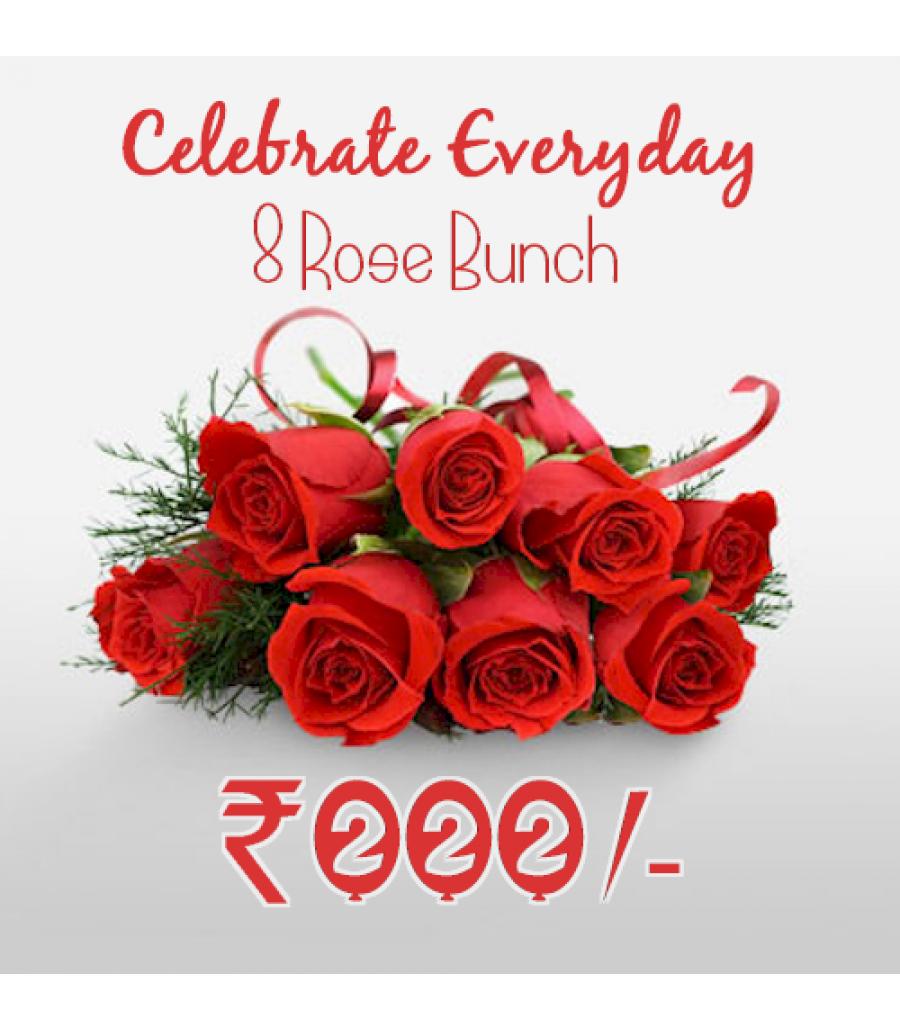 8 Roses Bunch - Celebration