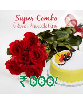 6 Roses + Pineapple Combo