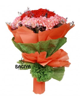 40 PEACH & RED CARNATIONS