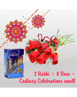 2 RAKHI + 8 ROSE + CADBURY CELEBBRATION SMALL (Order last date 24.Aug.2018)