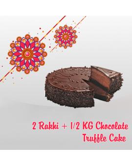 2 RAKHI + HALF KG CHOCOLATE TRUFFLE CAKE (Order last date 24.Aug.2018)