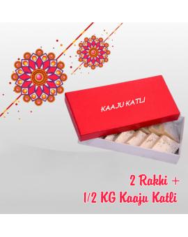 2 RAKHI + HALF KG KAJU KATLI (Order last date 24.Aug.2018)
