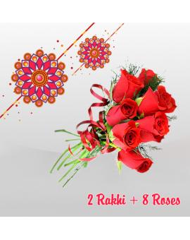 2 RAKHI + 8 ROSES (Order last date 24.Aug.2018)